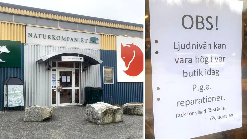 Dörr in till Naturkompaniet i Ö-vik och en lapp som säger att det sker reparationer i butiken efter en smash and grab.