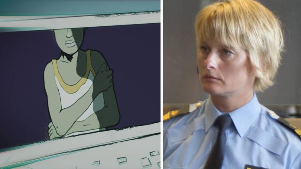 Till vänster en bild föreställande ett barn som blir groomat och till höger en polischef.