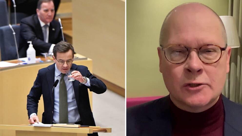 Kollaget visar en bild på partiledarna Stefan Löfven (S) och Ulf Kristersson (M) under en debatt i riksdagen samt en bild på SVT:s kommentator Mats Knutson.