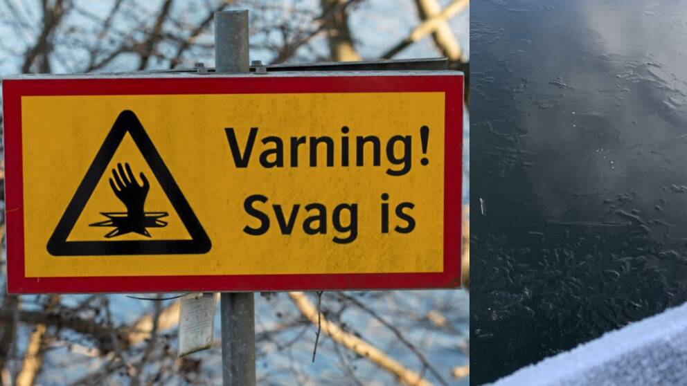 Skylt som varnar för svag is samt tunn is på vattenyta