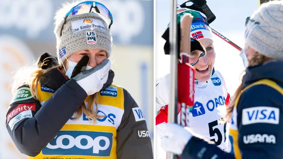 Jessica Diggins grät glädjetårar när det stod klart att hon besegrat Therese Johaug i Falun.