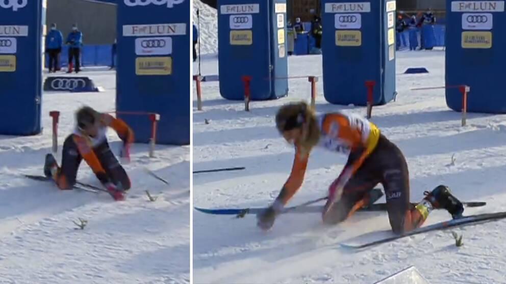 Svenskan Louise Lindström föll och bröt staven vid starten.