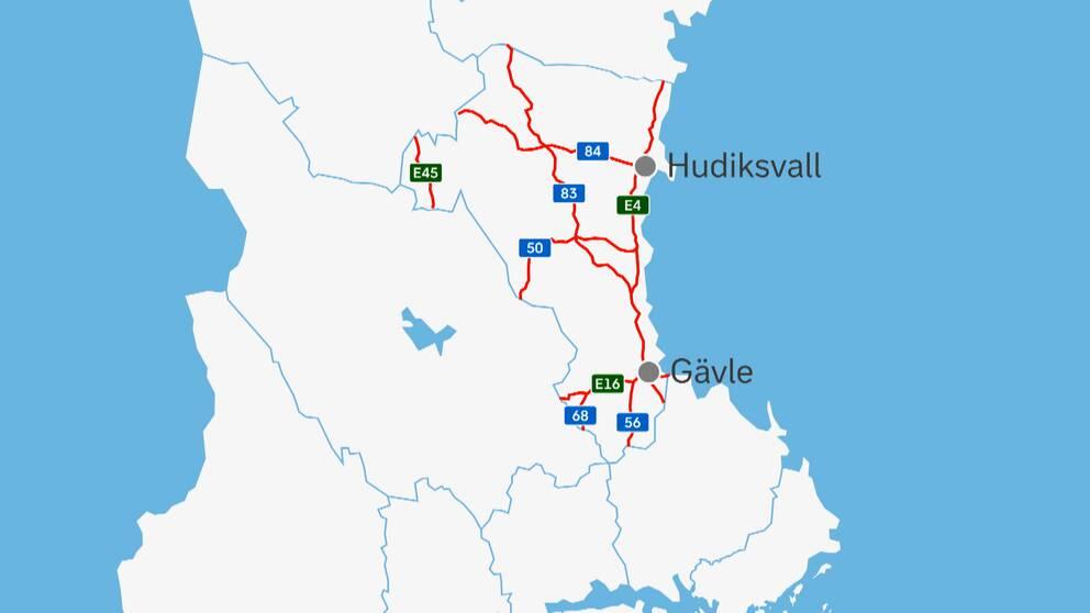Statliga vägar i Trafikverkets regi i Gävleborg utmärkta på en karta.