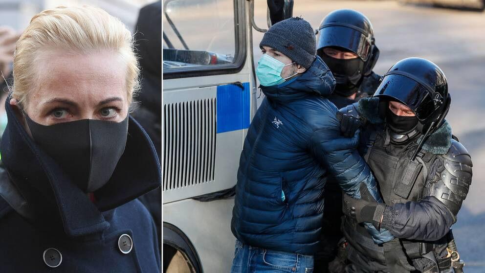Aleksej Navalnyjs fru Julia utanför rätten där det blev stökigt under morgonen och flera Navalny-anhängare greps.
