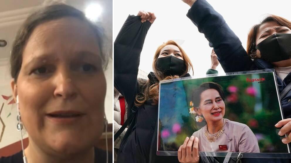 Frida Zaric, diplomat på UD och chef för svenska sektionskansliet i Yangon i Myanmar, berättar om oron i landet efter militärkuppen.