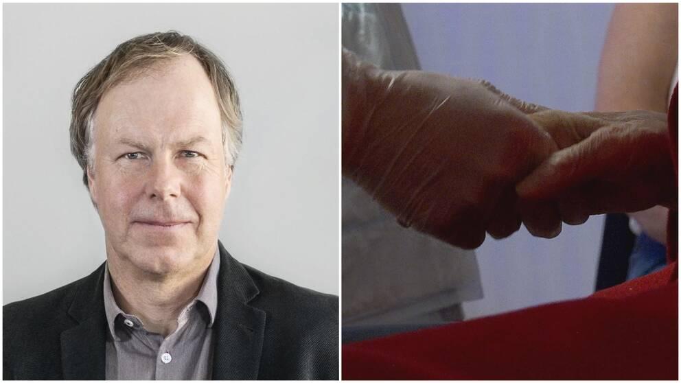 Collage: Porträttbild och en läkare som håller i en äldre hand.