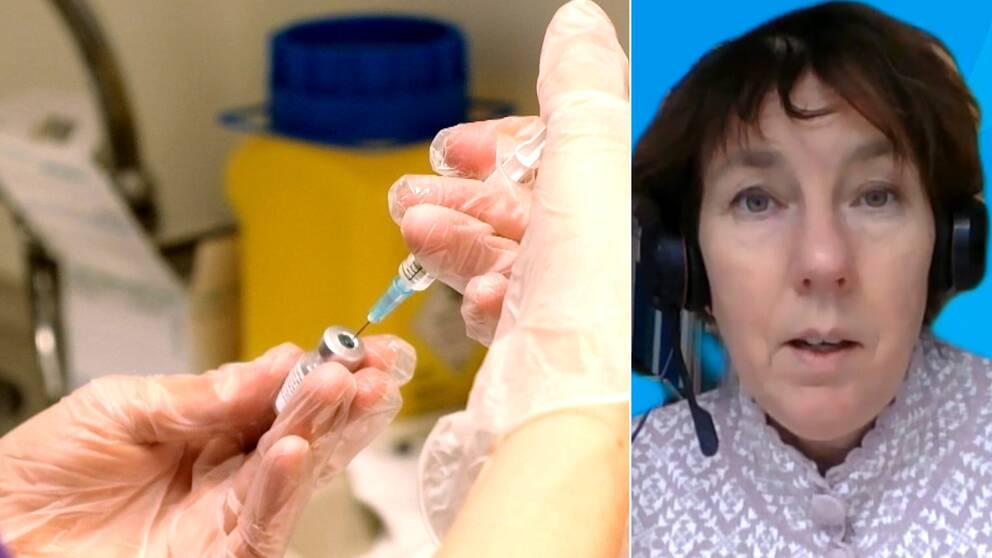 En sjuksköterskas händer med gummihandskar som fyller en spruta ur en ampull, och en bild på en kvinna, som heter Karin Sellgren.
