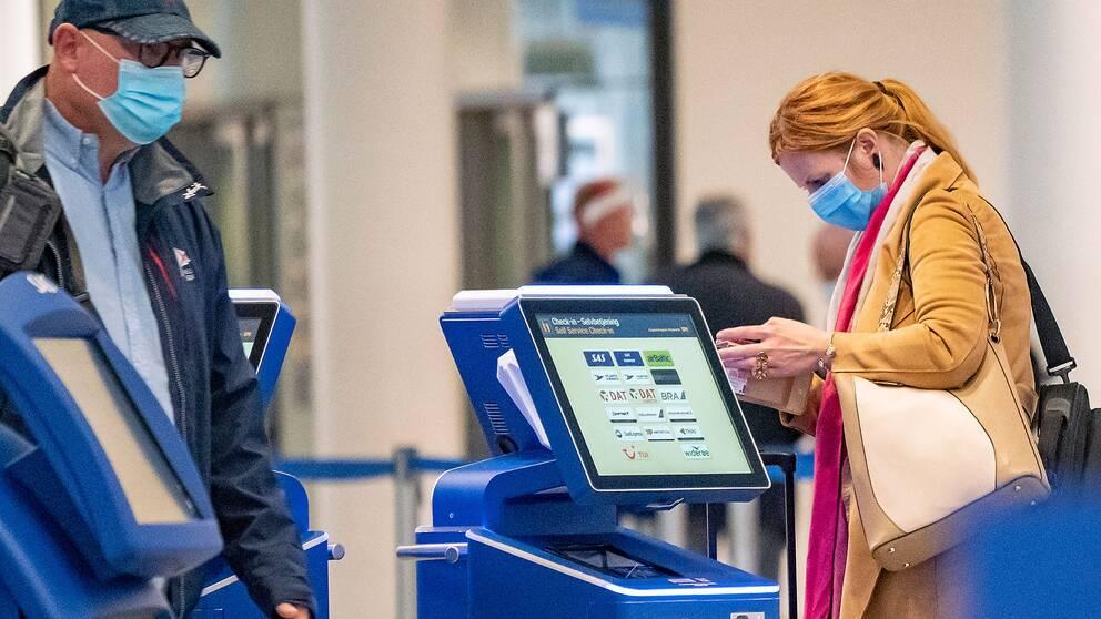 Passagerare på Kastrups flygplats i Köpenhamn