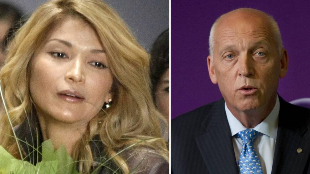 Bilden visar Gulnara Karimova, dotter till Uzbekistans dåvarande diktator samt Telias förre vd Lars Nyberg som frias från mutanklagelser.