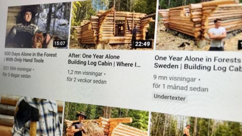 Erik Grankvists klipp från stugbygget har setts av många på Youtube