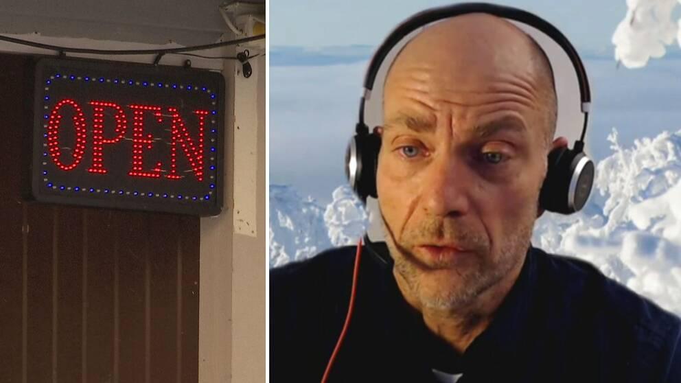 """Dubbelbild. till vänster neonskylt med texten """"open"""".Till höger skallig man med ett headset framför en bakgrund av snöklädda träd."""
