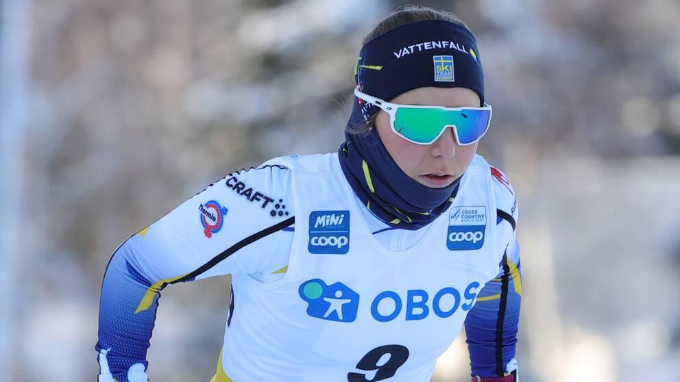 Johanna Hagström under damernas sprintkval i världscupen i Ulricehamn på lördagen