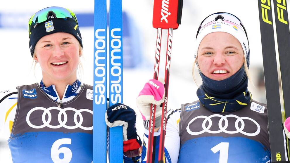 Maja Dahlqvist och Linn Svahn bildar lag i sprintstafetten.