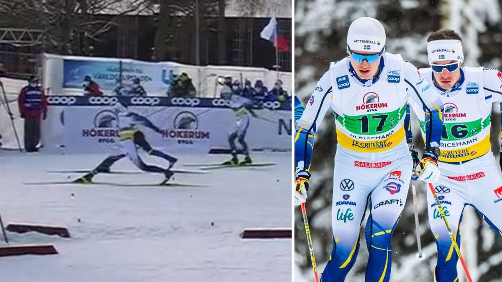 Johan Häggström och Karl-Johan Westberg blev trea i sprintstafetten.