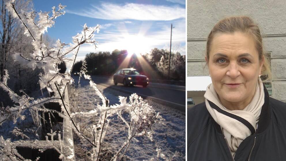 Bil på vinterväg och porträtt på Tina Thörner.