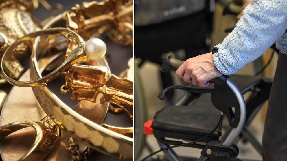 Guldsmycken till vänster i bild. En äldre person till höger i bild.