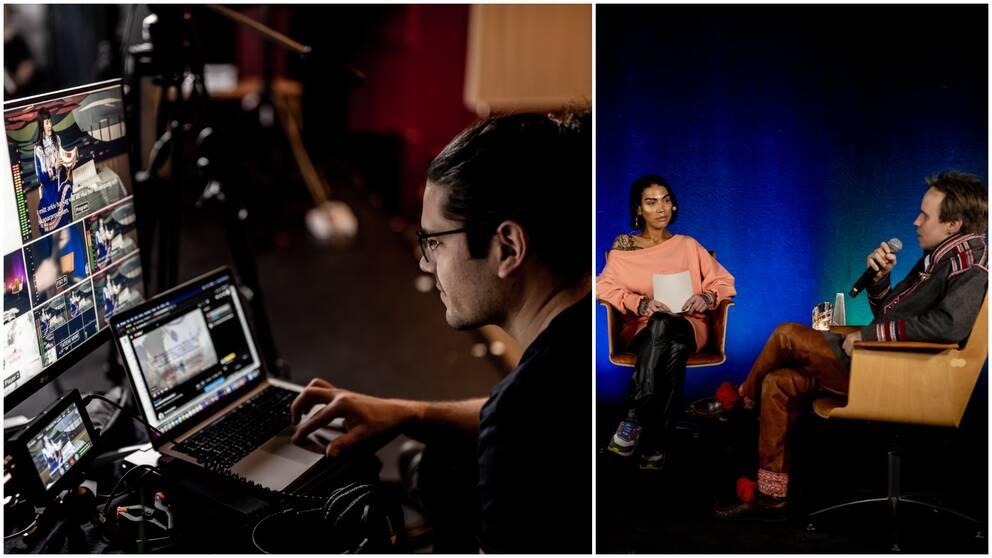 En kille framför en dator och sedan två personer,en kille och en tjej, i varsin fåtölj.