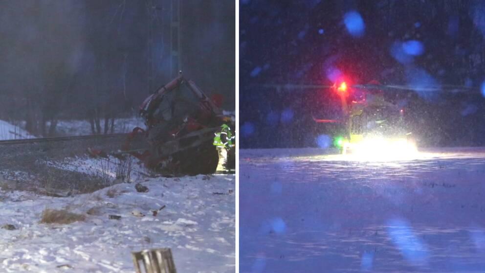 till vänster en bild från en olycka vid järnvägsspår och till höger räddningshelikopter.