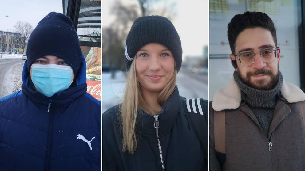 Isak Lorensson har alltid munskydd på bussen. Ellen Bolin glömde sitt och Charlie Hjertqvist har bara inte införskaffat något.