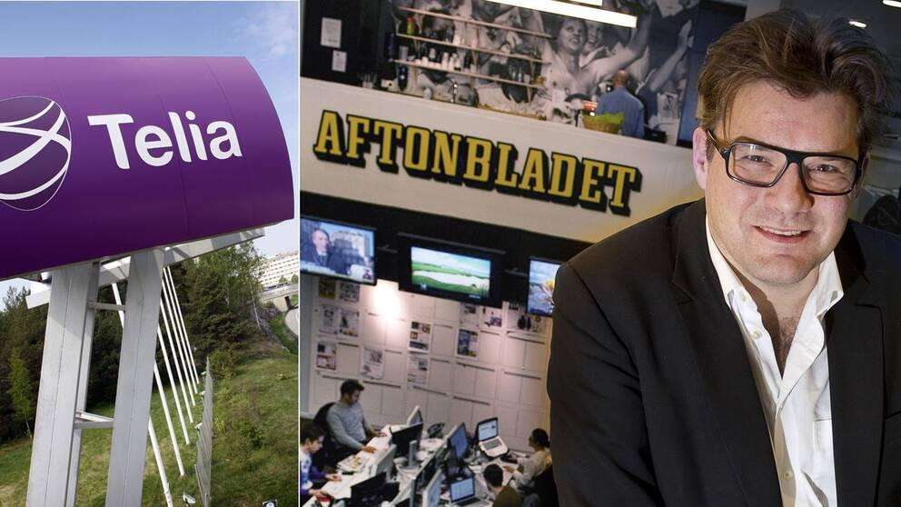 Aftonbladets chefredaktör Jan Helin på plats på redaktionen. Tidningen inleder nu ett samarbete med Telia.