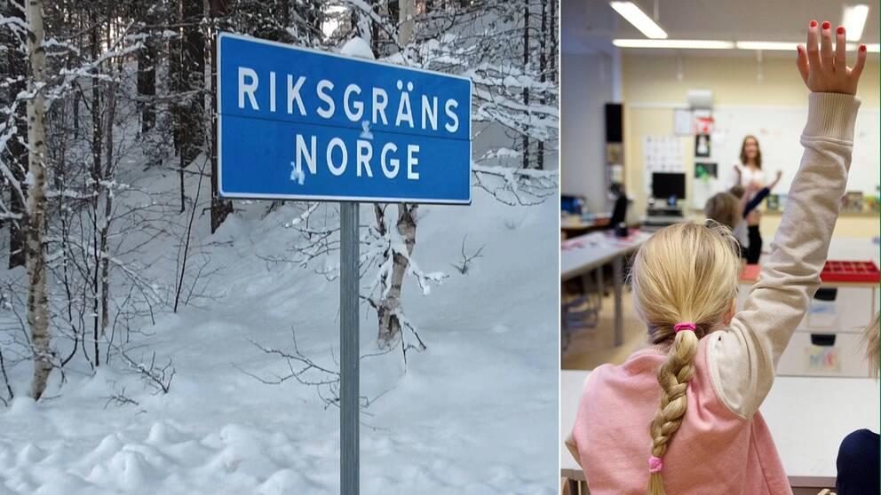 Delad bild på riksgränsen Norge och en flicka som räcker upp handen i en lektionssal.