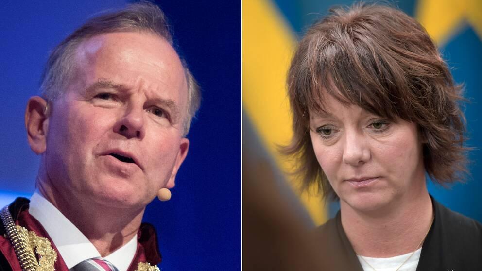 KI-rektorn Ole Petter Ottersen och forskningsminister Matilda Ernkrans (S)