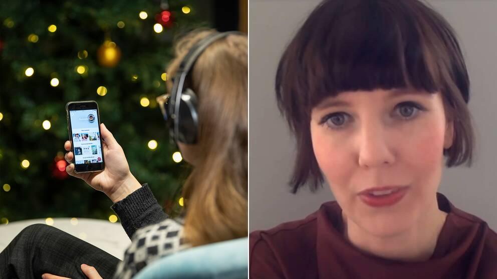 En person som lyssnar på ljudbok i mobilen, samt forskaren Julia Pennlert.