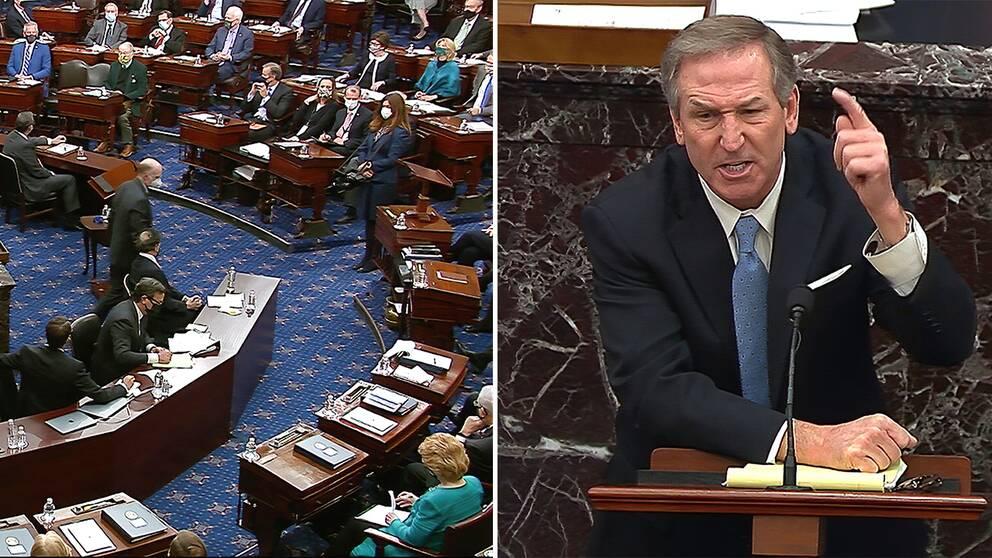 Senaten röstar om att kalla vittnen/ Michael van der Veen, advokat i Trumps försvarsteam.