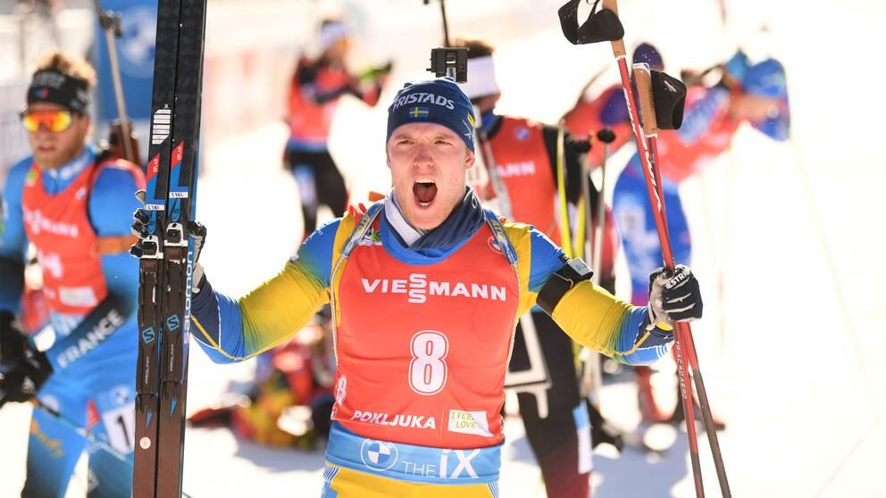 Sebastian Samuelsson tog VM-silver i jaktstarten.