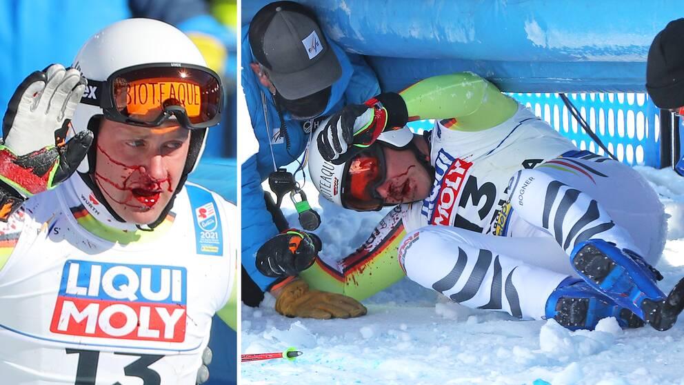 Romed Baumann kraschade rejält efter målgång i störtloppet.
