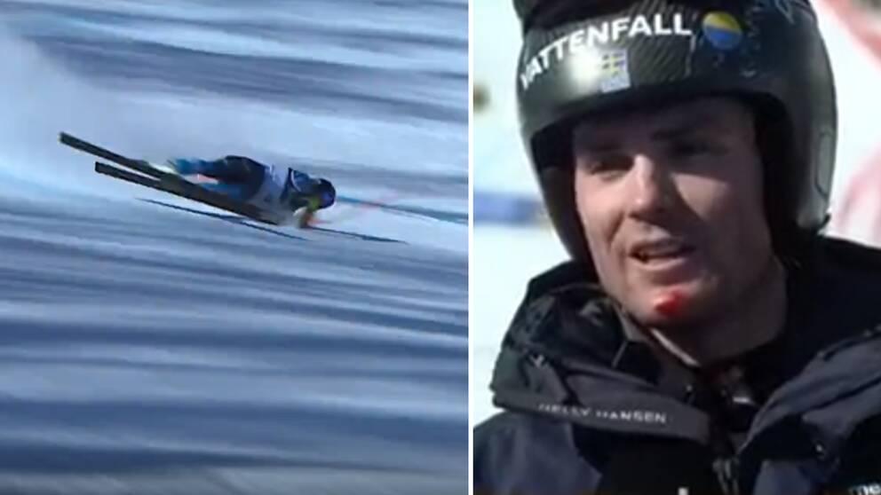 Mattias Rönngren kraschade i super-G:n.