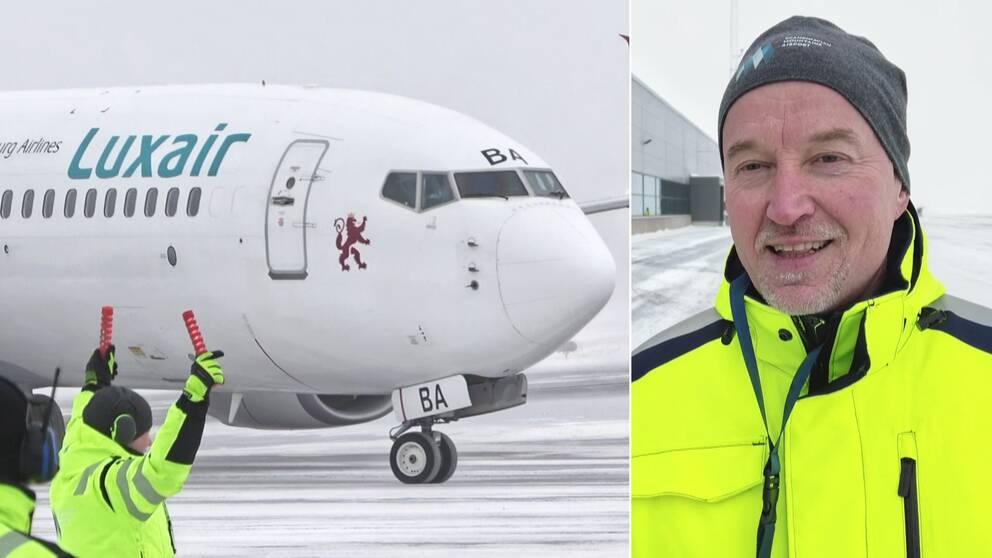 Bild på flygplan som landar på Sälens flygplats och en bild på vd Gunnar Lenman