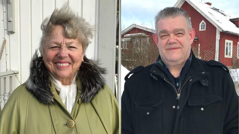 Bilden är ett collage med två bilder. Den vänstra bilden är en porträttbild på Mildred Persson, hon syns från brösthöjd och uppåt. Hon har kortklippt grått hår och en ljusgrön kappa på sig. Hon tittar in i kameran och ler med tänderna. Den högra bilden är en porträttbild på Lars-Gunnar Hellström. Han syns från brösthöjd och uppåt. Han har på sig en svart jacka, kortklippt kort hår och kort skäggstubb.