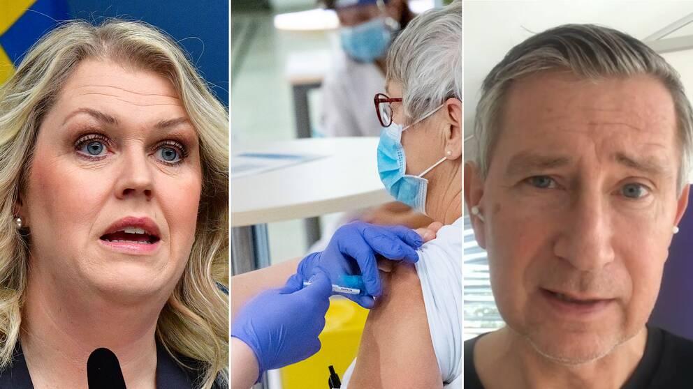Socialminister Lena Hallengren (S) och vaccinsamordnare Richard Bergström