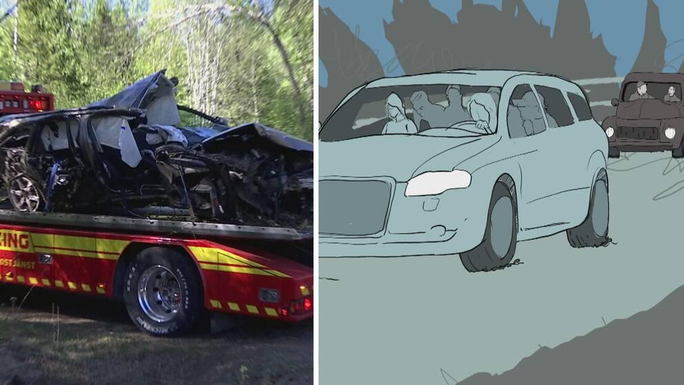 Till vänster en kraschad bil som bogseras och till höger en bild i grafik som en personbil och en epatraktor. Efter Sörforsolyckan.