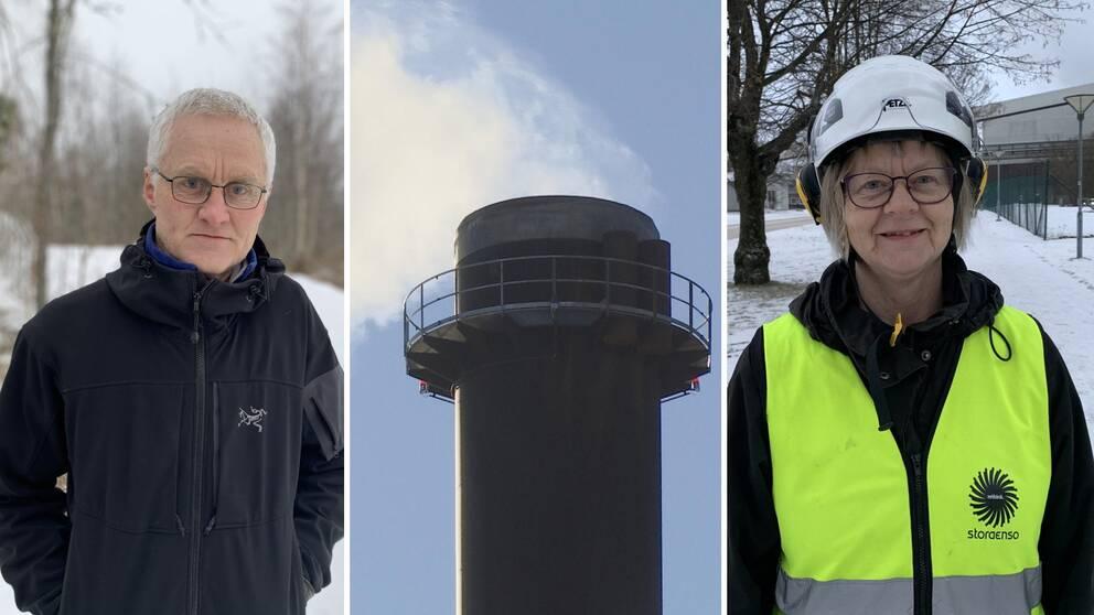 Tre bilder. Olof Åkesson till vänster, en rykande skorsten i mitten, Margareta Sandström till höger.