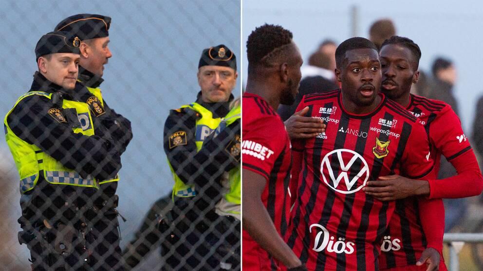 Poliser runt Landskrona-ÖFK-matchen och ÖFK-spelare.