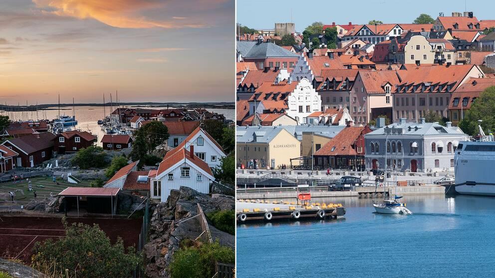 Svenska stugor i skärgårdsmiljö, samt vy över Visby.