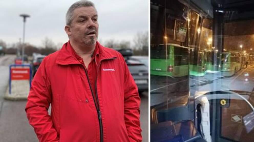 Fotomontage, en man från facket kommunal och en bild på det reflekterande plexiglaset