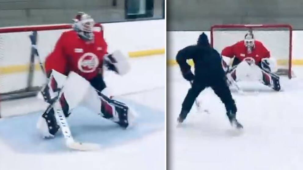 Henrik Lundqvist är tillbaka på is bara 47 dagar efter sin hjärtoperation.
