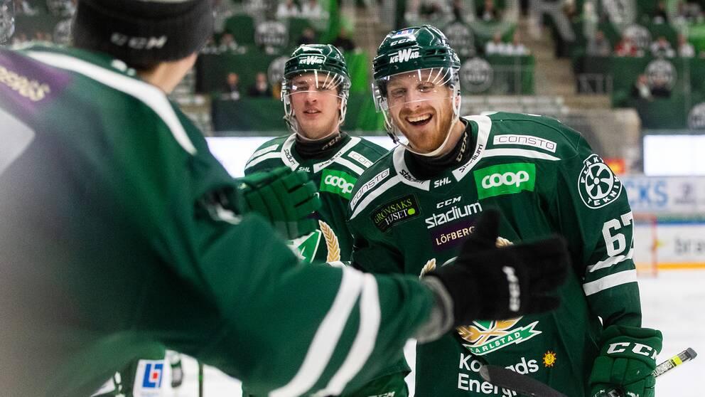 Färjestads Pontus Widerström jublar efter att han gjort 1-0.