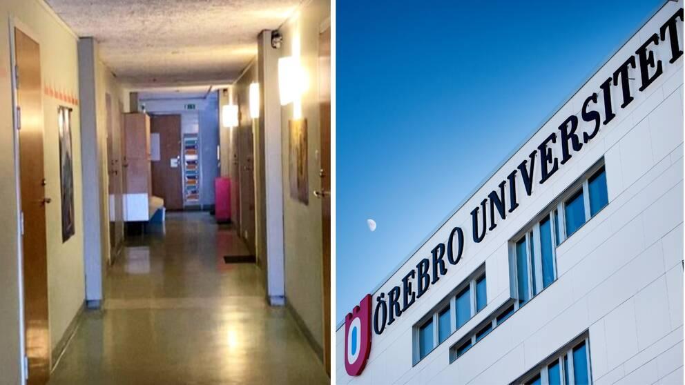 Till höger en bild på en studentkorridor och till höger en bild på Örebro universitet.