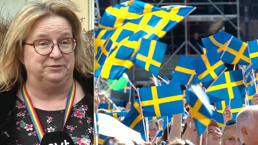 Helle Bryn-Jensen, länstyrelsens jurist, står framför en brun buske vid ett hus och svenska flaggan.