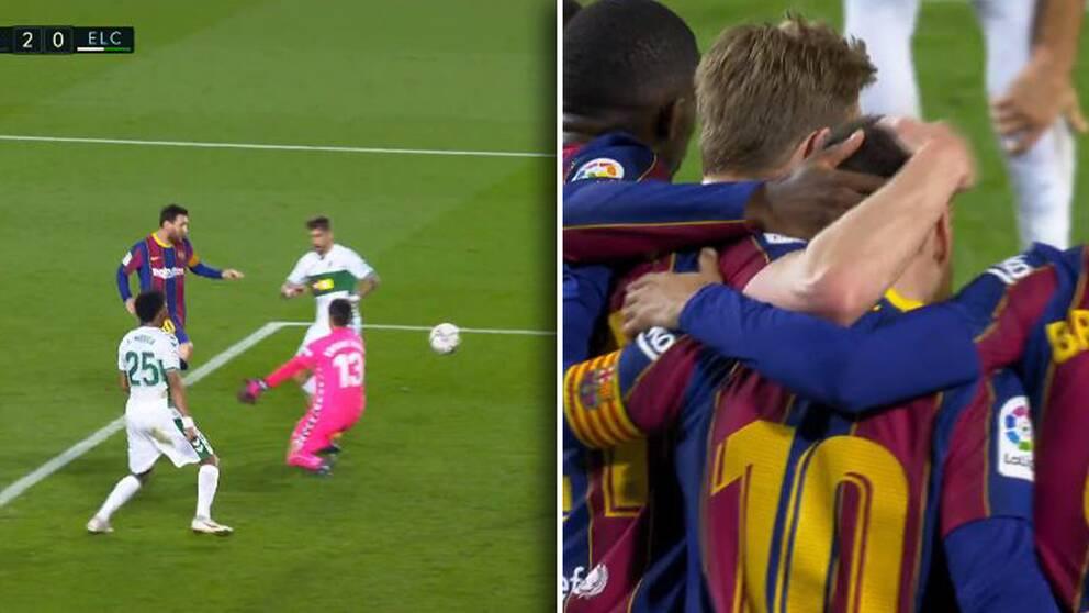 Messi gjorde två mål i vinsten mot Elche.