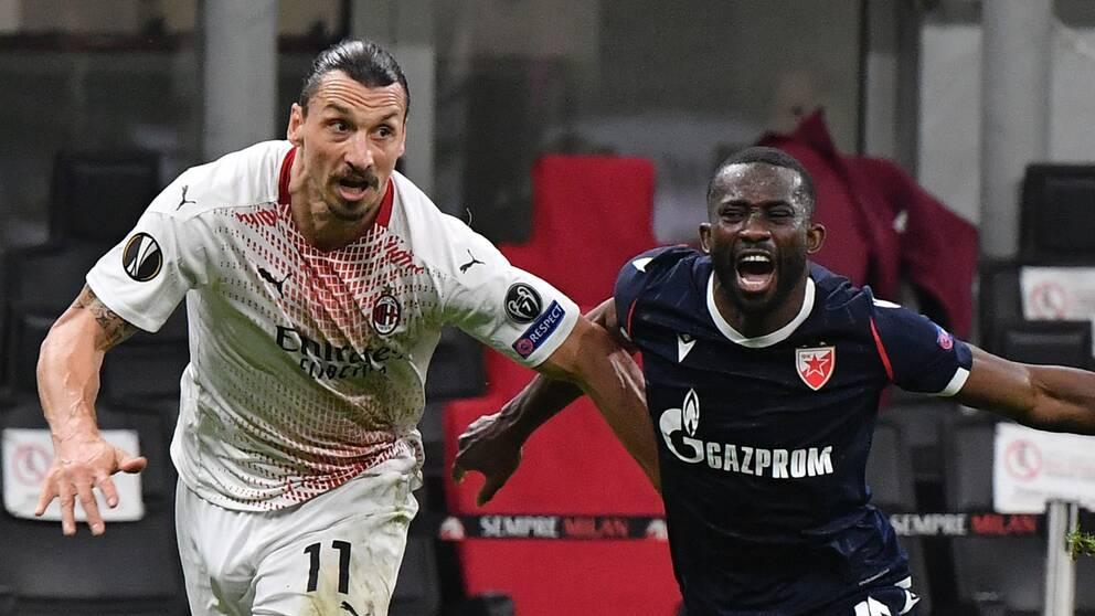 Zlatan Ibrahimovic i duell med Röda Stjärnans Sekou Sanogo.