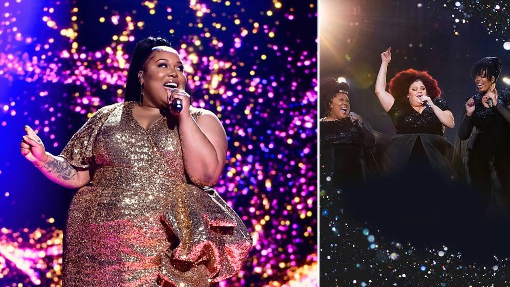 Klänningarna The Mamas hade förra året (t.h) försvinner magiskt i tv-rutan när de nu är tillbaka i Melodifestivalen.