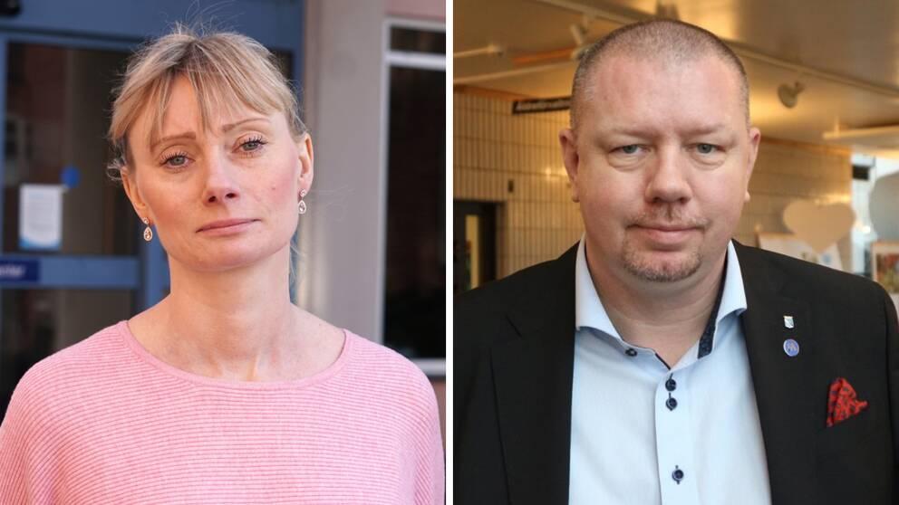 Emma Stjernlöf (M), ordförande i hälso- och sjukvårdsnämnden, och Roger Fredriksson (M), Moderaternas Blekingeordförande.