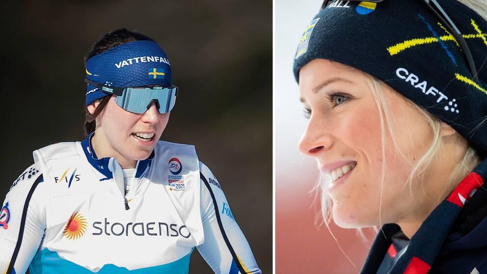 Charlotte Kalla är redo för start i lördagens skiathlon.