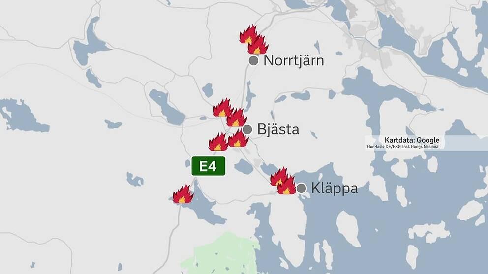 De anlagda bränderna i Örnsköldsviksområdet.