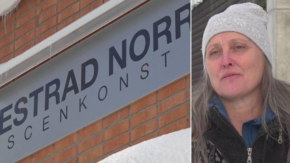 """Dubbelbild. Till vänster skylt med texten """"Estrad Norr Scenkonst"""". Till höger kvinna med grått långt hår och grå mössa."""